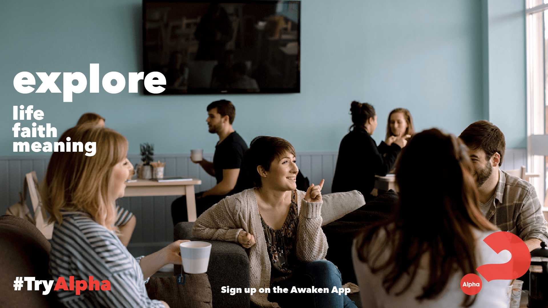 Alpha course image with people having coffee and chatting
